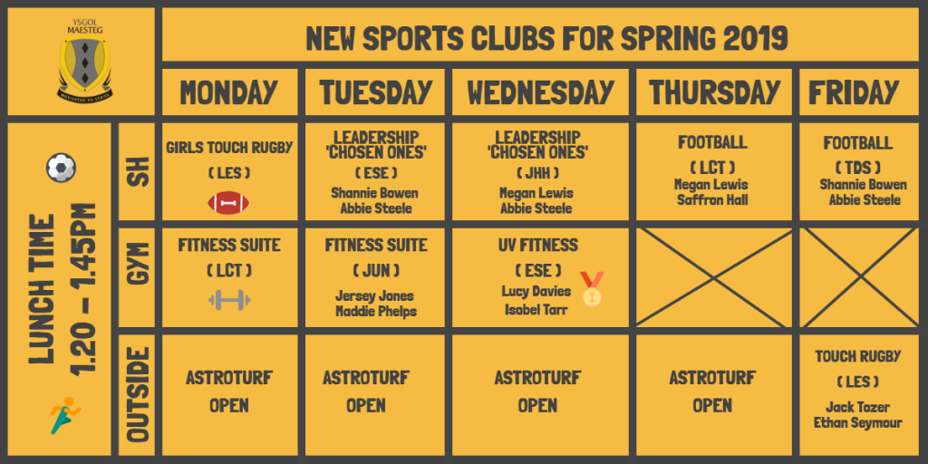 PE Sports Clubs Timetable 2019