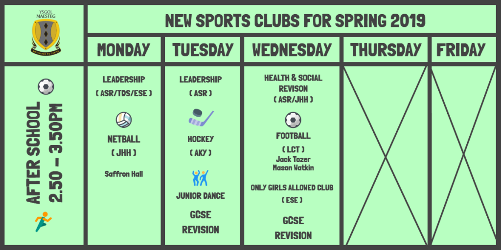 PE Sports Clubs Timetable (Afterschool) 2019
